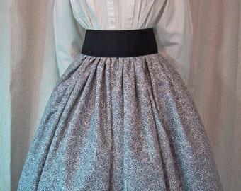 Long Skirt for Costume - Civil War Reenactment - 19th Century Fashion  - Victorian - Gray Scroll Print Cotton Fabric - Handmade - Grey color