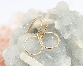 Gold hoop earrings - circle earrings - dainty gold earrings - minimalist earrings - delicate gold jewelry - simple jewelry - 14k gold filled