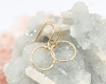 Gold hoop earrings - circle earrings - dainty gold earrings - minimalist earrings - delicate gold jewelry - simple jewelry - 14k gold filled