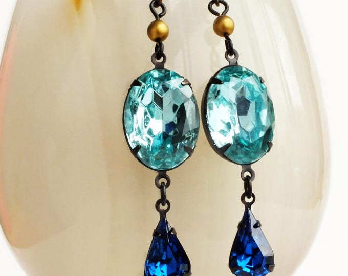 Aqua Rhinestone Earrings Vintage Turquoise Glass Crystal Jewelry Aqua Blue Gold Earrings Aquamarine Jewelry Draft