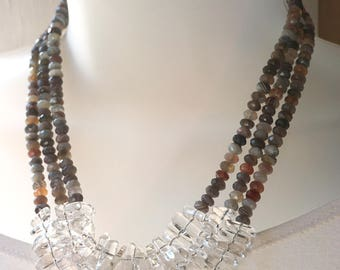 Agate and Crystal Quartz Necklace   Multistrand Gemstone Necklace   Mothers Day Gift  