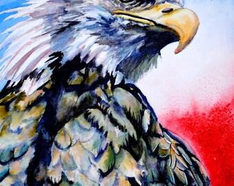 Patriotic Eagle, Patriotic art, Patriotic decor, Eagle art, Eagle painting, Bird watercolor painting, bird watercolor art, eagle wall art