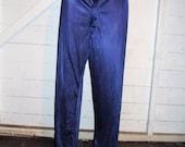 Vintage Navy Blue Nylon Pajama Pants Bottoms L