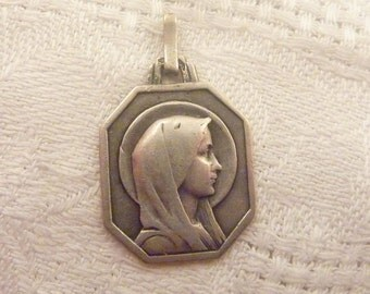 Antique Sterling Silver French Lourdes Virgin Mary Medallion Charm