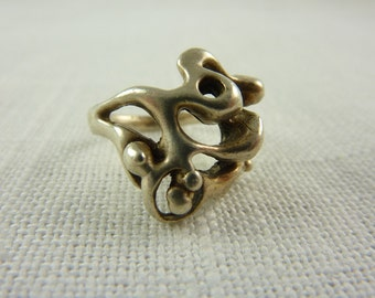 Vintage Handmade Sterling Abstract Ring Size 5.5