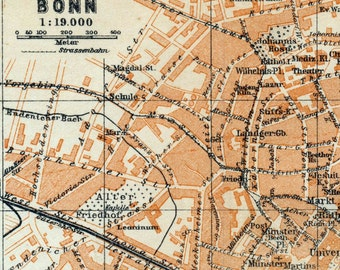 Antique Map of Bonn, Germany - 1909 Bonn Map