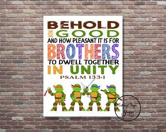 Brothers Scripture Art, Ninja Turtles Scripture Art, Psalm 133:1, DIGITAL, YOU PRINT, Teenage Mutant Ninja Turtle Art, Kids Scripture Art