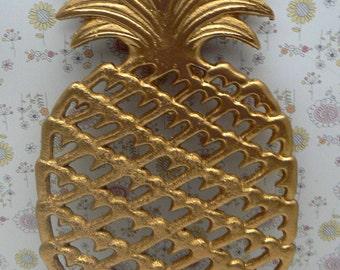 Cast Iron Pineapple Trivet Metallic Gold House Warming Gift Kitchen Decor
