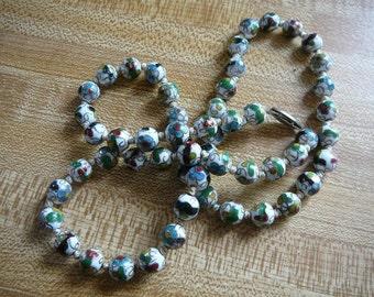 SALE - 20% off! Vintage - White Enamel Cloisonne Bead Necklace - Hand-Knotted