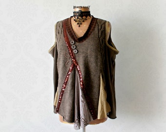 Women's Cut Out Shoulder Rustic Brown Sweater Recycled Clothing Artsy Boho Top Loose Fit Jumper Mori Girl Sweater Creative Clothes L 'TEIGAN