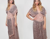 Vintage 90s WAYNE CLARK Draped SILK Dress Mauve Animal Print Dress Glam Party Dress