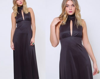 Vintage 70s BLACK Maxi Dress Sleeveless YOUNG INNOCENT Gown Vintage Cut Out Halter Dress