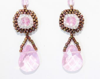 Olive Rose Matte Seed Bead Round Earrings with Light Pink Glass Teardrop
