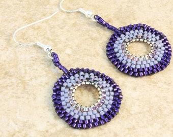 Purple Lavender Seed Bead Brick Stitch Earrings Silver Plated Ear Wire