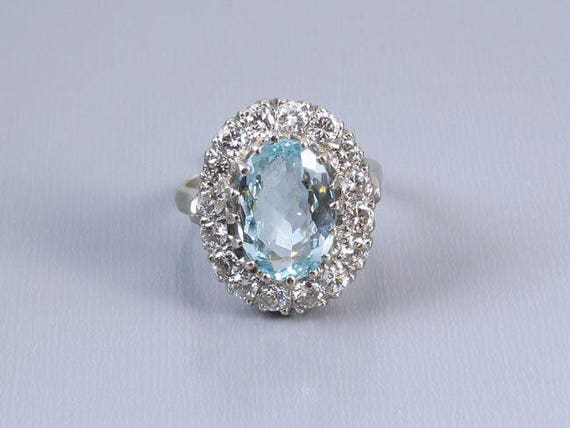 Vintage estate 14k white gold 3.75 carat oval aquamarine with 1.60 carat diamond halo cocktail statement ring, size 7