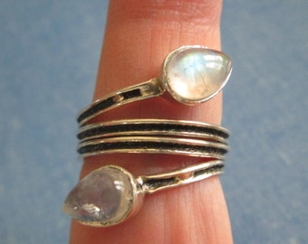 RING  - Double MOONSTONE  - Wrap Around - 925 - Sterling Silver - size 8  moonstone398