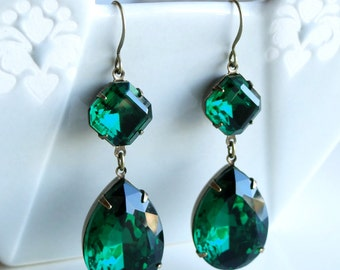 Vintage Old Hollywood Glamour Emerald Rhinestone Earrings Retro Bridal Bridesmaids Retro