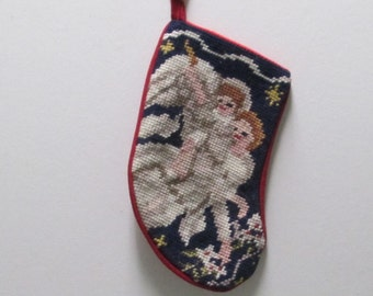 Needlepoint Stocking Angel Christmas Stocking Vintage  Babys 1st Childs Small Ivory Red Velvet Christian Complete NEEDLEPOINT