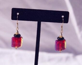 SUNSET EARRINGS OOAK, Handmade Lampwork & Vermeil, dangle, gift, fuschia, orange, pink