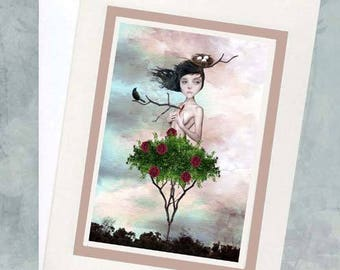 All Occasion Card - Art Greeting Card - Rose Girl Greeting Card - Rose Notecard - Blank Card - Thorn In My Side
