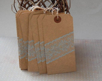 Extra Large Tea Stained Tags with Lace-4 3/4 x 2 3/8-Lace-Manila-Wedding Seating-Escort Card-Favor Tag-Gift Tag-Rustic-Vintage-Ready to Ship