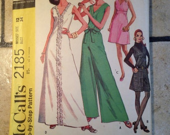 McCall's 2185 Size 12 Misses' Dress and Pant Dress Pattern