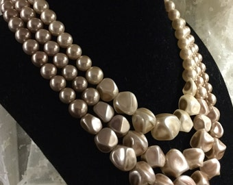 Champagne Wheat Hued Three Strand Mid Century Choker Necklace 1950's Daytime Wear June Cleaver
