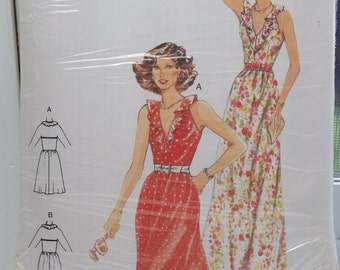 Misses' Sleeveless Maxi Dress Burda 8862 Sewing Pattern, Women's Ruffled V Neckine Dress with Flared Skirt Size 8 - 16 UNCUT Destash