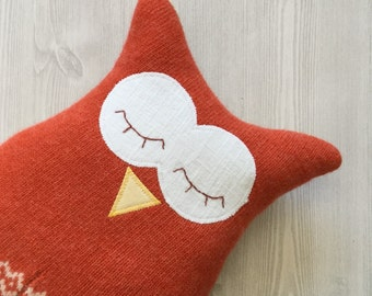 Owl pillow or plush - toy owl - home decor - cotton and wool