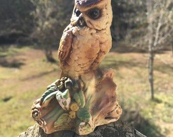 Vintage Orzeck Terrestone Owl Figurine--Owl Collector--Owl Lover--Group Decor Piece--Shabby Farmhouse Cottage Style--Woodsy Bird Statue