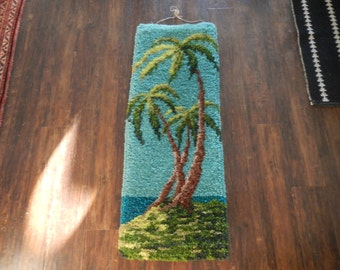 "1960s Palm Tree Wall Hanging or Throw Rug /  decor / latch hook / 40"" x 15"""