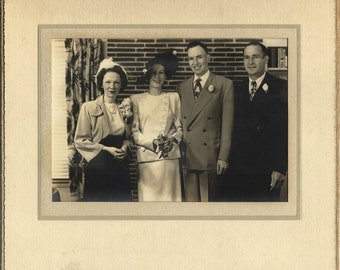 Vintage Wedding Photo, Fashionable Forties Attire, Bride and Groom and Attendants, Collectors Photo or Craft Supply