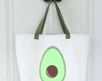 Avocado Tote Bag - Avocado Handbag - Lined Tote with Pocket - MADE TO ORDER