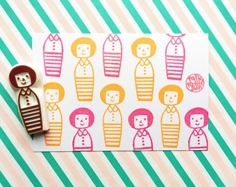 kokeshi doll stamp, mom stamp, girl hand carved rubber stamp, diy birthday gift wraps, mother's day scrapbooking, crafts with family