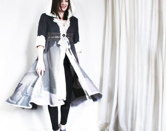 RESERVED upcycled clothing, upcycled fashion, wearable art,  duster, opera coat . moon shadow . XS - S