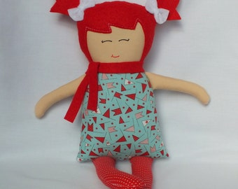 Rag doll, cloth doll, handmade doll, soft doll, baby doll, doll, red hair, gift for a girl, christmas doll, cute doll, ready to ship