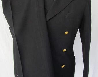 1940s Vintage Military 40s WW2 WWII US Navy Black Dress Wool Evening Suit Uniform 40 Small
