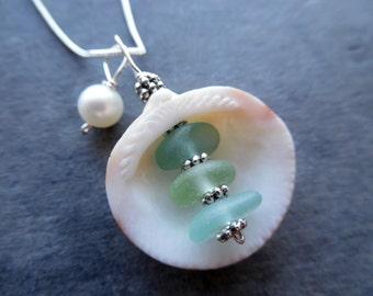 Shell Sea Glass Necklace Beach Glass Jewelry Seashell Pendant Sterling