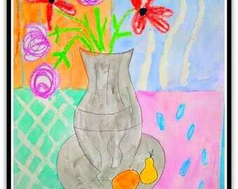 Happy Vase of Flowers Folk Art Happy Art Kids Art 9x12 Watercolor on Watercolor Paper Original whimsical Art