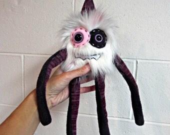 Monster Plush - Handmade Plush Monster - Purple Calico Faux Fur Toy - OOAK Monster Doll - Hand Embroidered Monster - Weird Plush Monster