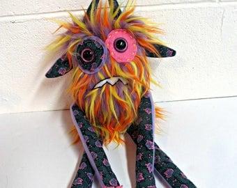 Nervous Monster Plush - Handmade Grumpy Monster - Purple, Orange & Yellow Faux Fur Monster - OOAK Doll - Hand Embroidered Toy - Weird Plush