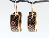 Small Hoop Earrings, Etched Brass, Paw Print Earrings