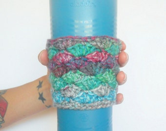 Shell Stitch Mermaid Coffee Cozy in Pink, Green, Blue and Grey, ready to ship.