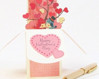 Valentines Day Card - Valentines Gift - Valentines Day Decor - Pop Up Card - Love Birds Tree - Gift Card Holder - Wedding Stationery