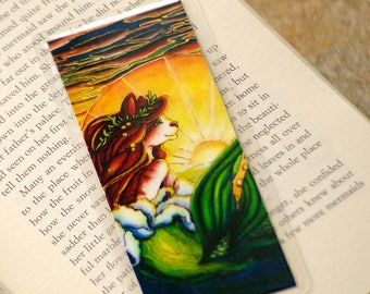 Mermaid Cat Bookmark, Ocean Sunset Nautical MerCat Art Bookmark