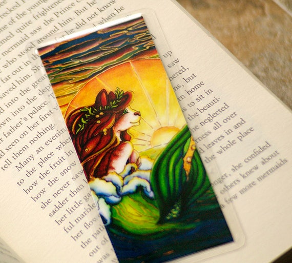 Mermaid Cat Bookmark, Ocean Sunset Nautical MerCat Art Bookmark