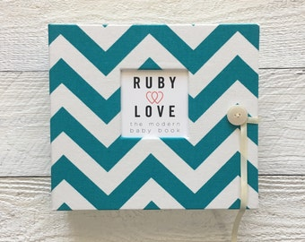 Teal Chevron | BABY BOOK