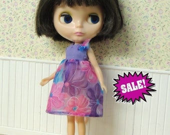 SALE Pretty floral dress for Blythe, pink, blue, purple, sheer