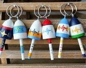 Lobster Buoy Key Chain Wedding Favors, Custom Order, deposit payment, Bright bold mixed colors compass rose, 2017 wedding