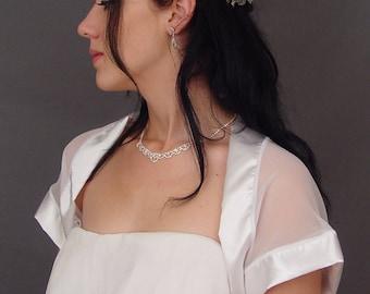 Chiffon bridal bolero jacket wedding shrug /satin trim short sleeve CBA210 (7 COLORS white, ivory, champagne, gray, pink, navy blue, black)